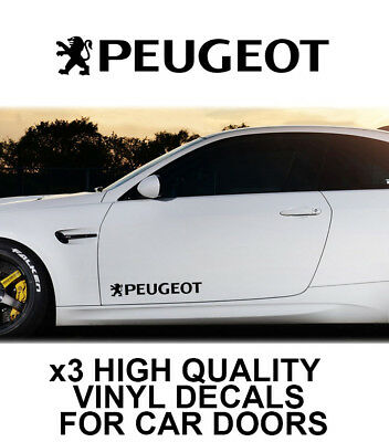 3x PEUGEOT LOGO CAR DOOR VINYL DECALS STICKERS ADHESIVE