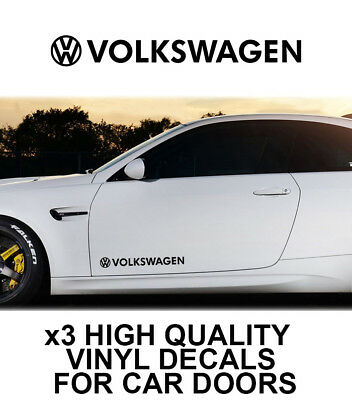 3x VOLKSWAGEN LOGO CAR DOOR VINYL DECALS STICKERS ADHESIVE VW