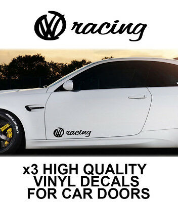 3x VOLKSWAGEN RACING LOGO CAR DOOR VINYL DECALS STICKERS ADHESIVE VW