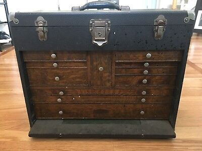GERSTNER & SONS OAK Leather Bound MACHINIST TOOL CHEST 11 DRAWERS NO KEYS