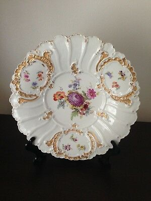 Antique Meissen Cabinet Plate With Floral Scalloping Gilt