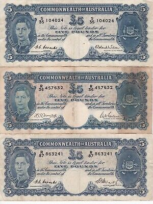 Six Australian 5 pound notes, Coombs/Watts, Armitage/McFarlane, Coombs/Wilson