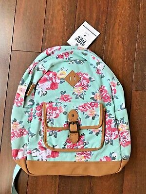 f41990e031ad POTTERY BARN TEEN Northfield PASTEL BLOOM BURST BACKPACK Teal LEATHER  Floral NW