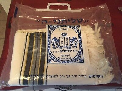Traditional Wool Tallit Prayer Shawl Black and Gold Stripes 60x78
