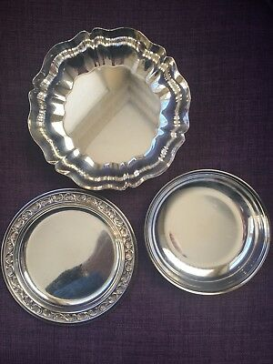 Small silver serving dishes, lot of 3,