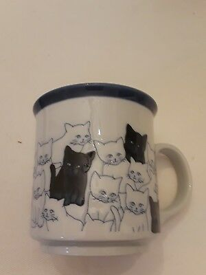 Otagiri White Blue Black Cats Kittens Coffee Tea Cocoa  Cup Mug  Japan