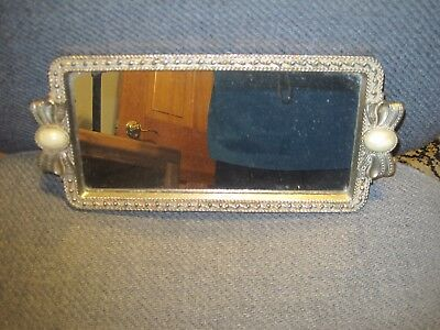 Vintage Mirrored Goldtone Vanity Tray with Bows