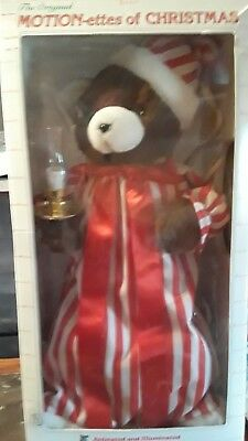 "Telco Motionette 24"" Christmas Animatronic Bear In Night Gown & Cap, 1990"