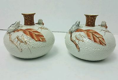 Antique Japanese Matching Porcelain-Kutani Vases-Two- 1900-1920's-Relief
