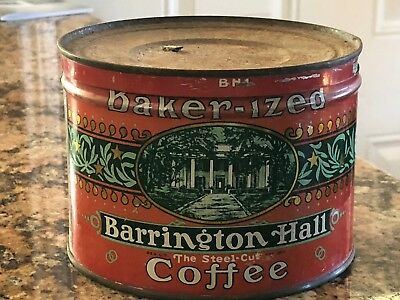 Vintage Barrington Hall Coffee 1lb Keywind Coffee Tin Can