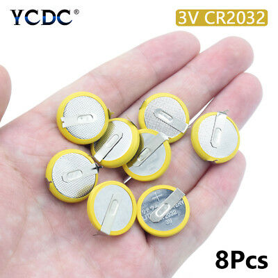 8pcs 3v cr2032 button battery coin cell with 2 mounting pins/tabs single use
