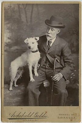 BRILLIANT PHOTO of DISTINGUISHED GENTLEMAN with his WHITE TERRIER DOG - WOW