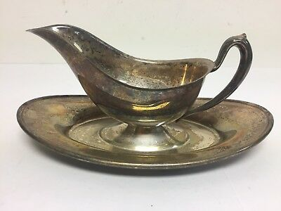 Vintage W & S Blackington Co Silver Plate Gravy Boat With Attached Under Plate