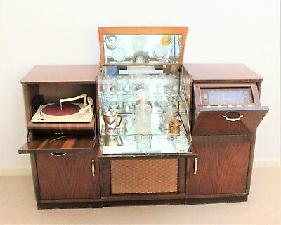 Vintage Drinks Cabinet with Radio and Record Player