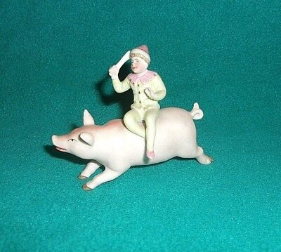 German Hertwig Antique Miniature Pink Pig And Clown Bisque Circus Figurine
