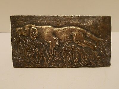 Bronze Embossed Plaque of a Sporting Dog Stalking in a Field~Paperweight?
