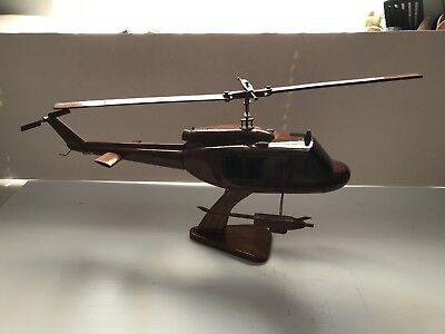 Bell UH-1 Huey  Vietnam Era Helicopter Mahogany Wood Wooden Model