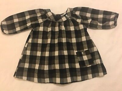 French Boutique Baby Girls Black/White/Grey/BrownPlaid Dress DP..am Bebe 3Months