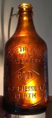 Perth Wa Ginger Beer Bottle Bcd & Piesse Diamond Trade Mark Amber Crown Seal