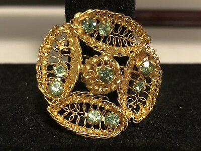 Vintage Goldtone Leaf Pattern Pin With Light green Gems