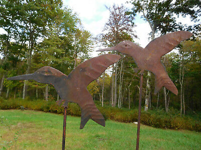 Vintage American Folk Art (2) Hand-Cut Metal Dowitcher Ducks Garden Sculptures