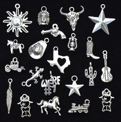 21pc TEXAS Old West CHARM SET, Antiqued Tibetan Silver, size 8mm to 26mm