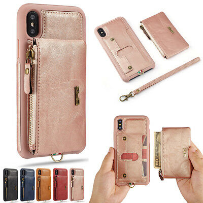 Luxury Leather Removable Zipper Wallet Case Cover For iPhone XS Max XR 7 8 Plus