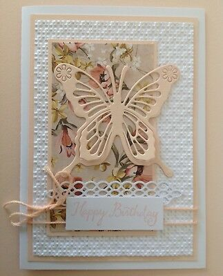 Handmade Birthday card: Beautiful butterfly with blush pink.