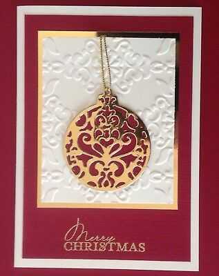 Handmade Card, 'Merry Christmas'-metallic bauble with cherry red & gold.