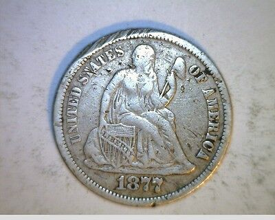 1877-CC US Seated Liberty Dime,  Circulated .900 Silver (US-6336)