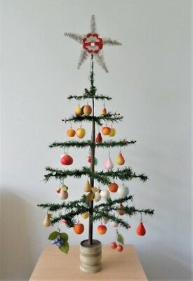 """Antique German Christmas FEATHER TREE with 35 COTTON Ornaments (36"""" High)"""