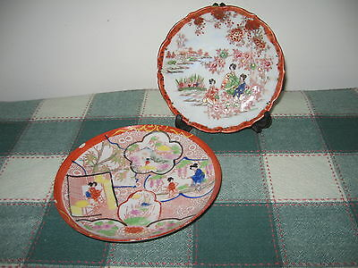 Lot 2 Vintage Hand Painted China Geishas, Garden Saucers Marked T Japan Red GOLD