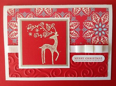 Handmade 'Dasher' card: 'Merry Christmas', with red.