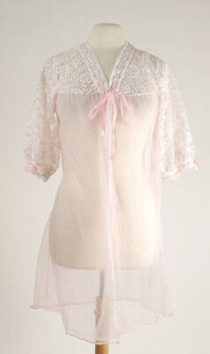 Vintage nightgown lace sheer pink robe tie front jacket 80s 90s sz L Large