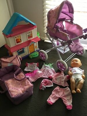 Toys. Doll, Pram & accessories. Fisher Price dolls house. Bulk lot. Great cond.
