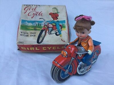 Haji Japan Girl Cycle Motorcycle Tin Toy Japan Boxed
