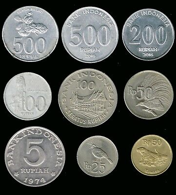 INDONESIA:-9 different  post independence coins. Values  5-500 Rupiah. AP6953