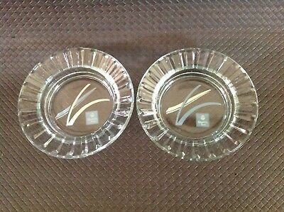 2 x VINTAGE QUALITY INN GLASS ASHTRAYS. MADE IN USA.