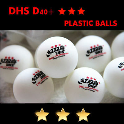 50Pcs Double Happiness DHS D40+ 3-Star Table Tennis Plastic Balls Color White