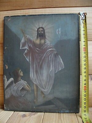 """Antique 19c Russian Orthodox Hand Painted Wood Icon """"resurrection of Christ"""""""