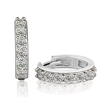 Pair Of Silver Surgical Stainless Steel Cuff Huggie Hoop Crystal Earrings Uk **