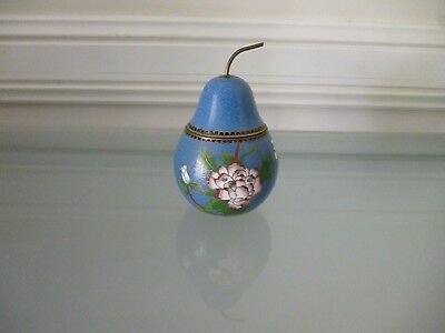 Cloisonne pear shaped jar with lid ~