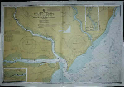 Large Admiralty sea chart Approaches To Felixstowe Harwich & Ipswich c1974