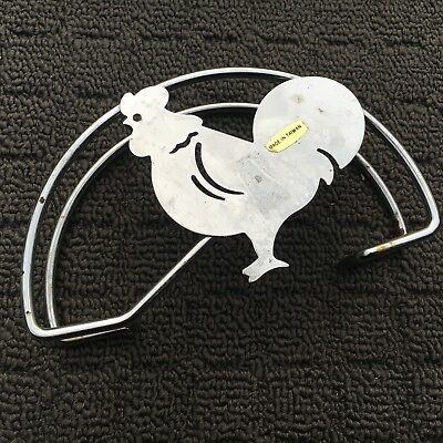 """ROOSTER """"Silver"""" Fun Novelty Chicken Stainless Steel Metal Napkin Holder"""