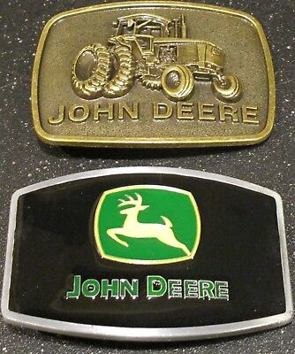 2 John Deere Belt Buckle's 4840 Iron Horse Tractor Brass and Black Lacquer