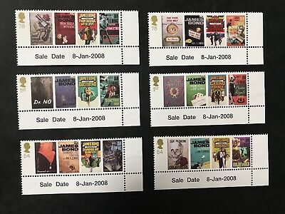 GB 2008 Ian Fleming's James Bond Stamp Set with Date MNH