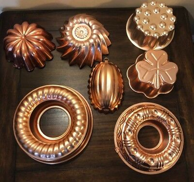 Vintage Copper Jello Food Molds Lot Of 7