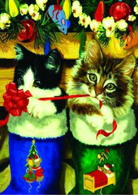 New Large Toland Flag Christmas Stocking Kittens Cats 28 X 40 So Cute!