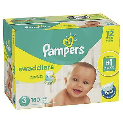 Size 3 Swaddlers Pampers Diapers Economy  baby  160 Count Plus Free Shipping New
