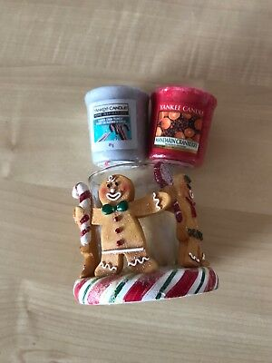 Yankee Candle Gingerbread Man Votive Holder + 2 Christmas Scented Votive Candles